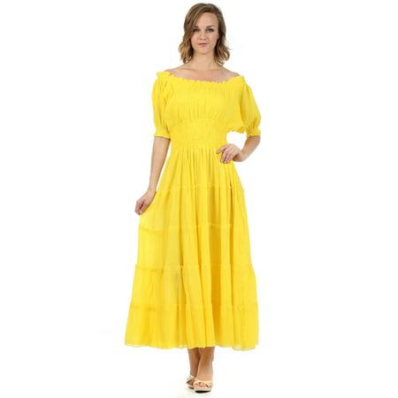 4626dd538e Sakkas Cotton Crepe Smocked Peasant Gypsy Boho Renaissance Mid Length Dress  - Yellow - One Size