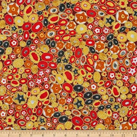 Gustav Klimt Jewels Fabric by the Yard, Red Metallic, Fabric type: 100% Cotton By Robert Kaufman
