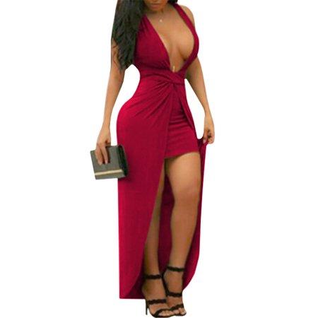 Sexy Women Solid Deep V-Neck Sleeveless Dress Deep V-neck Dress