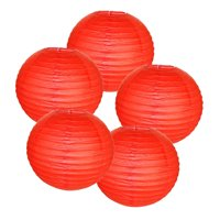 "Just Artifacts 12"" Red Paper Lanterns (Set of 5) - Decorative Round Paper Lanterns for Birthday Parties, Weddings, Baby Showers, and Life Celebrations"