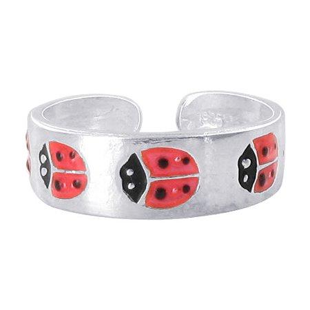 Enameled Ladybug (Gem Avenue 925 Sterling Silver Red and Black Enamel Ladybug Design 5mm Toe Ring)