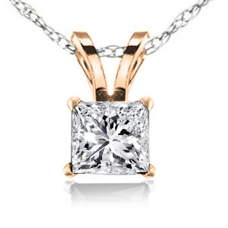 0.74 Carat (ctw) 10K Gold Princess Cut White Diamond Ladies Solitaire Pendant 3/4 CT Brilliant Cut Diamond Solitaire Pendant