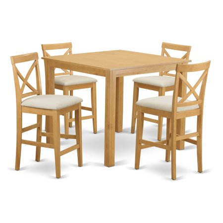 East West Furniture Cafe 5 Piece High Cross Dining Table Set ()