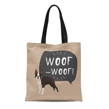 Dog Breed Tote - LADDKE Canvas Tote Bag Pet Dog Boston Terrier Colorful Black Breed Bulldog Reusable Shoulder Grocery Shopping Bags Handbag