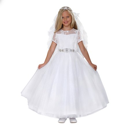Angels Garment Girls White Sparkle Tulle Corset Back Bow Communion (Three Little Angels All Dressed In White)