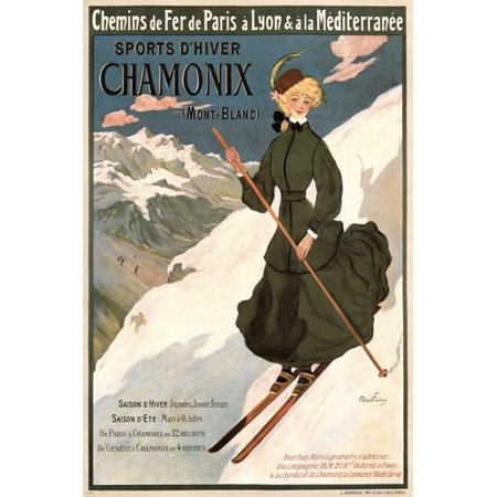 Chamonix Vintage Travel Ad Poster Abel Faivre France 1905 24X36 Winter Ski