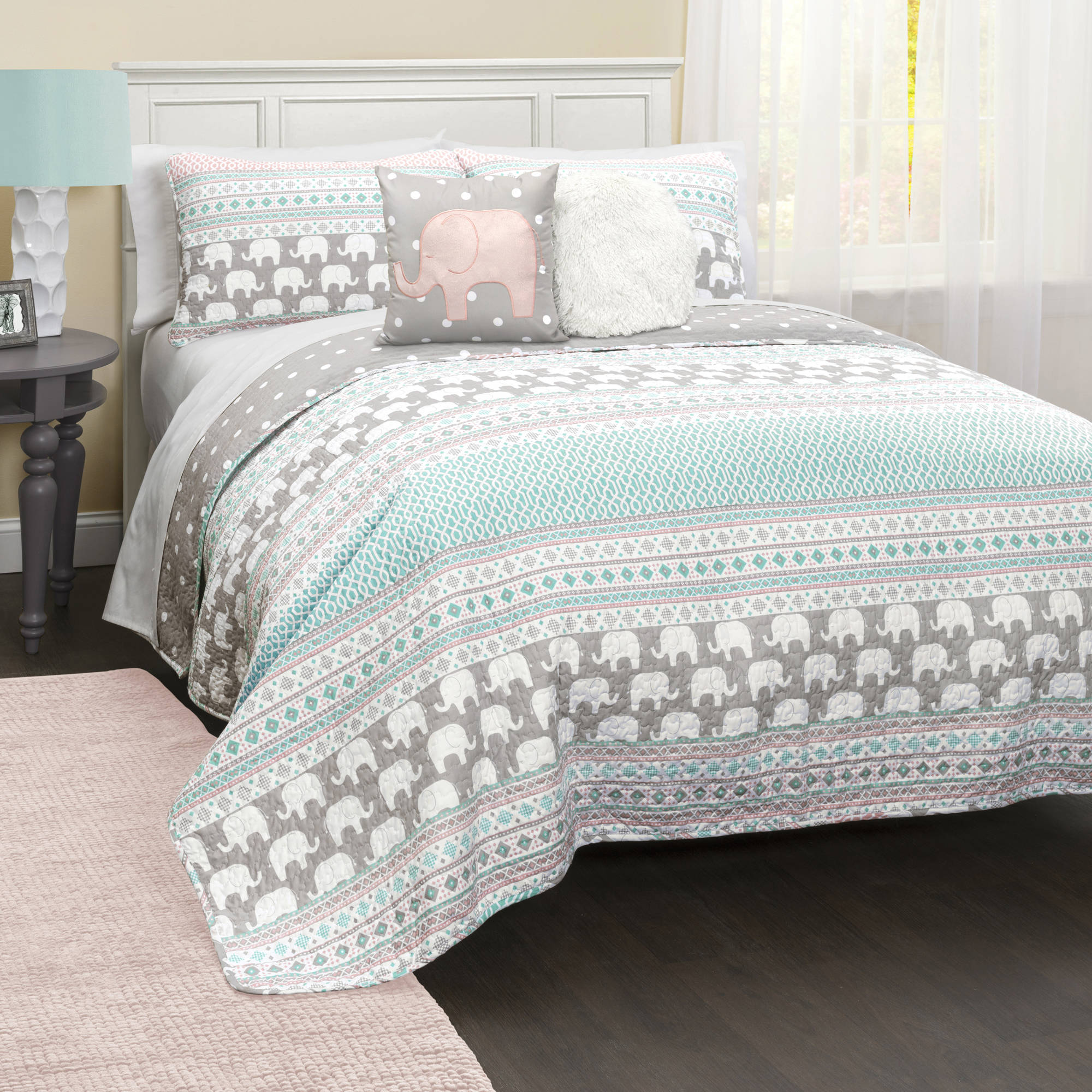 Elephant Stripe Bedding Quilt Set