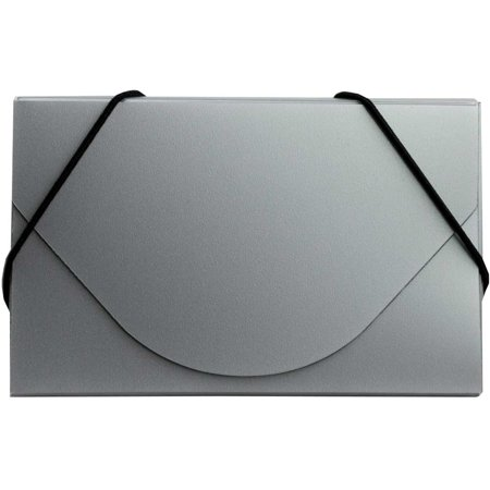 JAM Paper® Business Card Case with Round Flap - 3 1/2 x 2 1/4 x 1/4 - Silver Metallic - Sold Individually