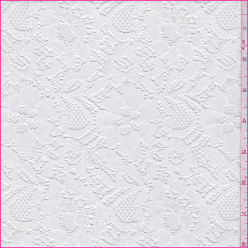 White Nylon Floral Lace, Fabric By the Yard