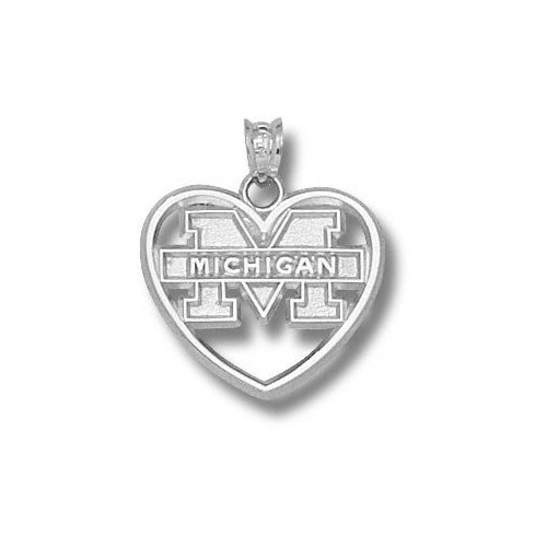 NCAA - Michigan Wolverines Sterling Silver ''M MICHIGAN'' Heart Pendant