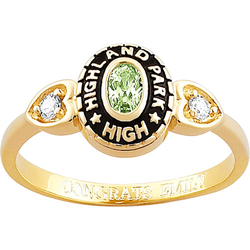 Personalized 18kt Gold-Plated Oval Birthstone with Cubic Zirconia Accents Class Ring