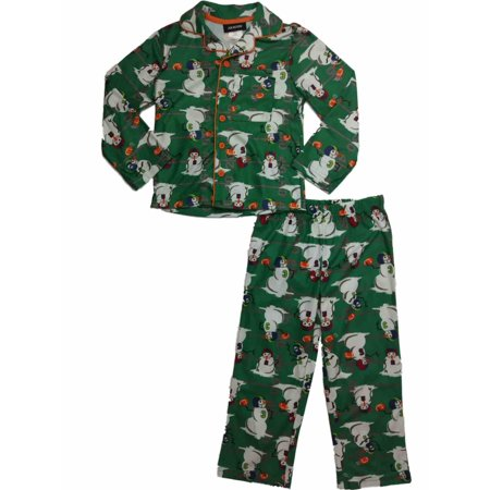 Little Boys Green Football Playing Snowmen Flannel Holliday Pajama Set