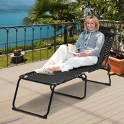 Costway Folding Beach Lounge Chair Heightening Design Patio Lounger w/ Pillow