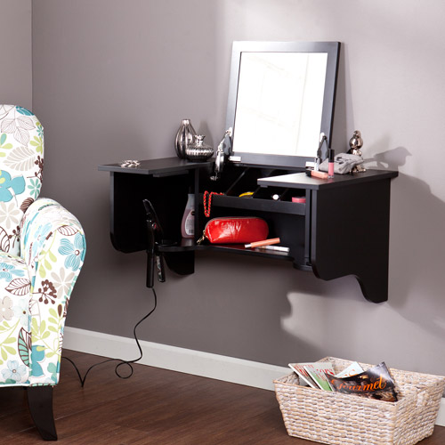 Leigha Wall-Mount Ledge with Vanity Mirror, Black by Southern Enterprises
