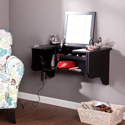 Elegant Leigha Bedroom Wall Mount Ledge With Vanity Mirror, Black
