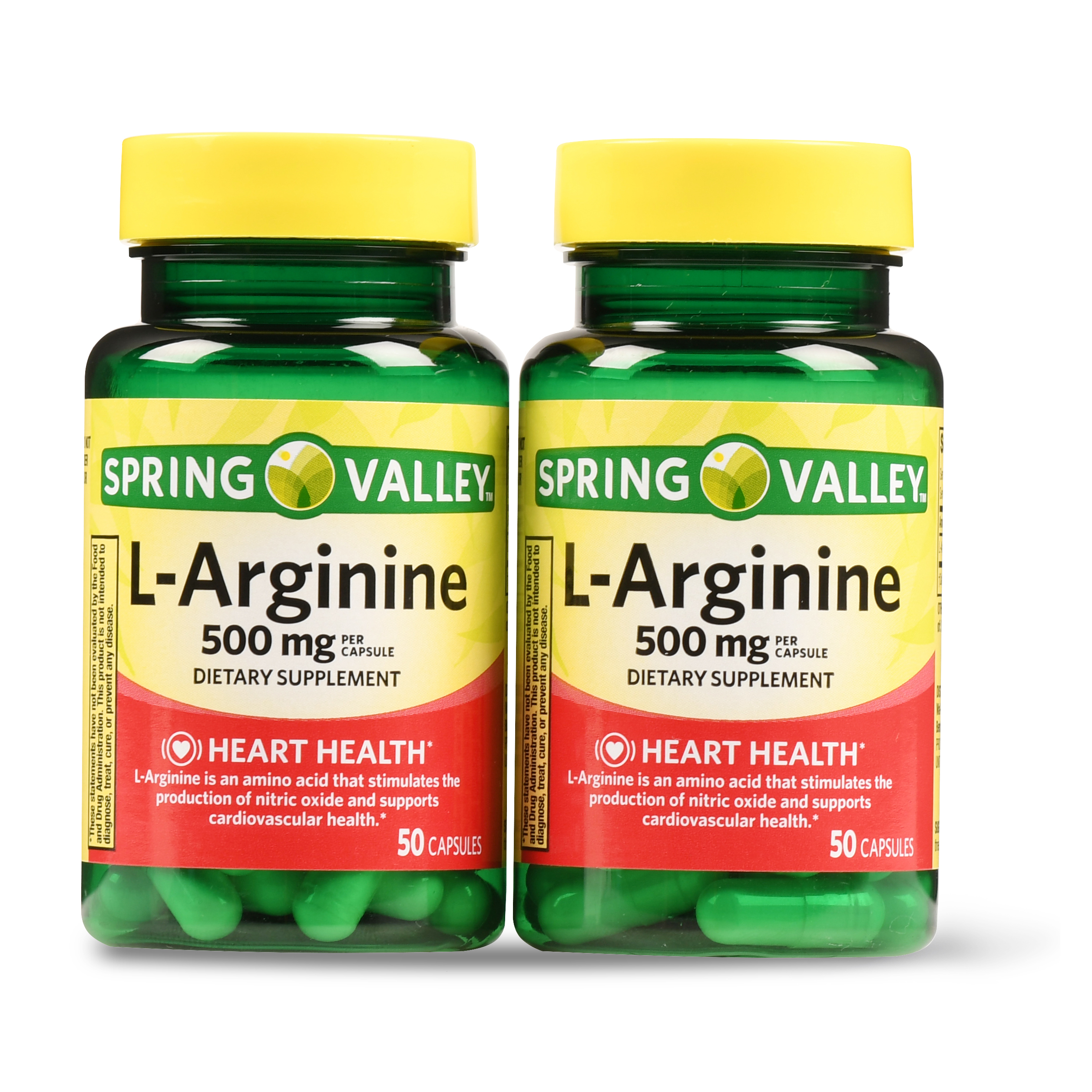 Spring Valley L-Arginine Capsules, 500mg, 100 Ct, 2 Pk