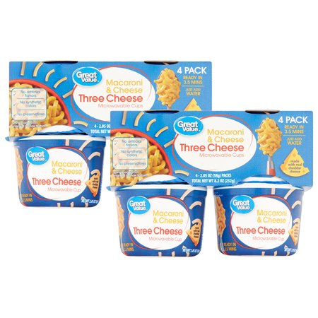 (2 Pack) Great Value Three Cheese Macaroni & Cheese, 2.05 oz, 4
