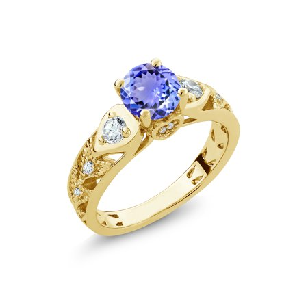 - 2.16 Ct Round Blue Tanzanite 18K Yellow Gold Plated Silver Ring