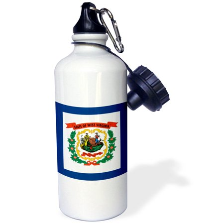 State Coat Of Arms - 3dRose Flag of West Virginia WV - US American United State of America USA. Farmer miner coat of arms wreath, Sports Water Bottle, 21oz