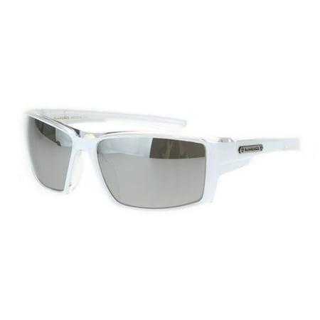 Mens Rectangle Warp Sport Biker Color Mirror Lens Plastic Sunglasses White Clear (Mirror Ignitor Clear Lens)