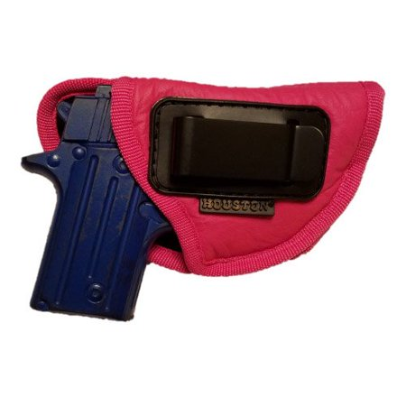 IWB Woman Pink Gun Holster - Houston - ECO Leather Concealed Carry Soft | Suede Interior for Protection Fits: S&W Bodyguard, Taurus TCP, Sig P238, Jimenez JA, PPK380, Ruger LCP II (Left)
