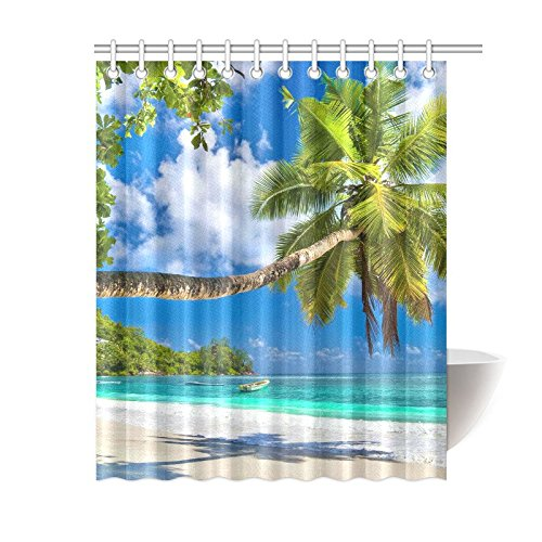 GCKG Palm Tree Leaves Shower Curtain Tropical Polyester Fabric Bathroom Sets With Hooks 60x72 Inches