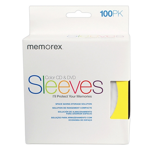 2000 Memorex Assorted Color Paper CD Sleeves with Window & Flap