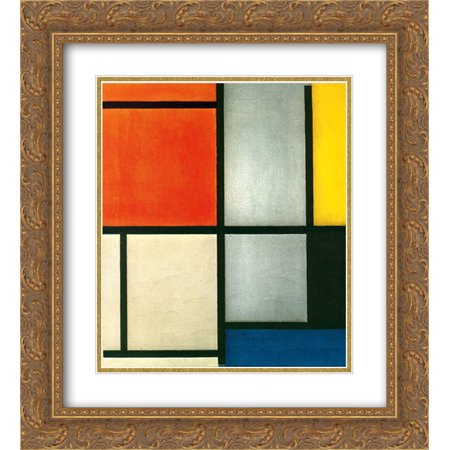 Gold Multi Color Gems (Piet Mondrian 2x Matted 20x24 Gold Ornate Framed Art Print 'Tableau 3 with Orange -Red, Yellow, Black, Blue and Gray')