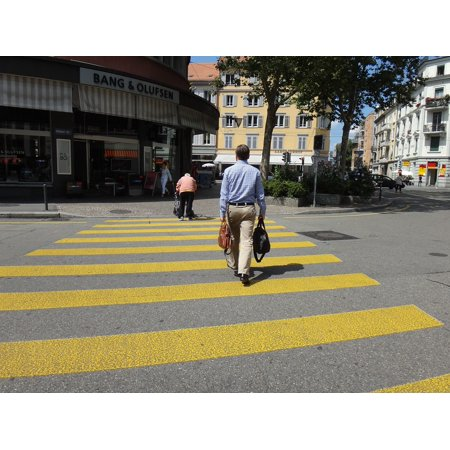 canvas print crossing person yellow stripes man zebra crossing stretched canvas 10 x - Yellow Zebra Stripe