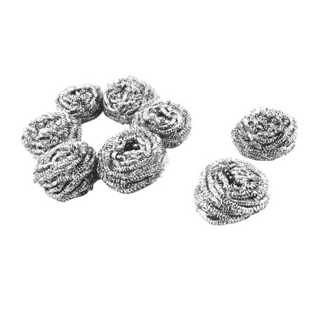 Kitchen Metal Bowl Pot Wire Ball Scrubber Cleaning Tool 65mm Dia 8pcs
