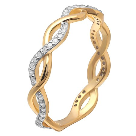 Ginger Lyne Collection Linda Two Tone 18Kt Gold Over Sterling Silver Anniversary Wedding Band - Two Tone Collection