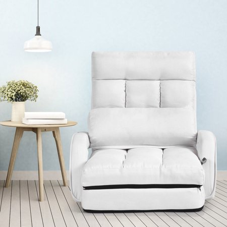 Costway Folding Lazy Sofa Lounger Bed Floor Chair Sofa w/ Armrests Pillow White - image 5 of 9
