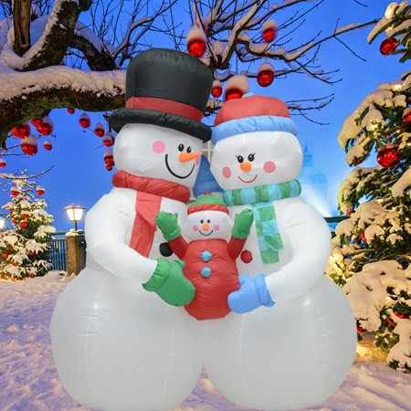 fashionlite 8 feet christmas xmas inflatable snowmen family lighted blow up yard party decoration