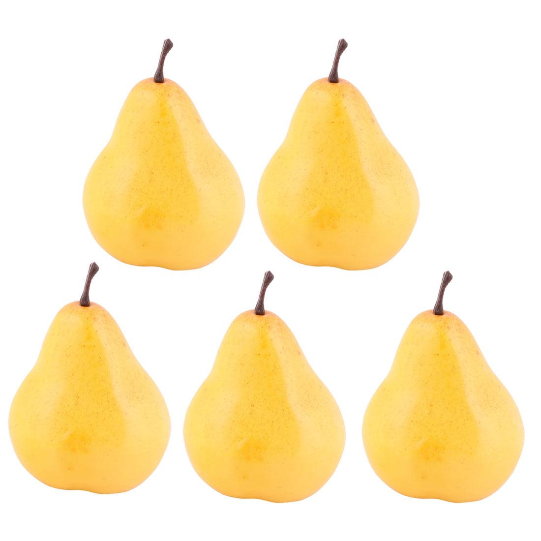Household Table Decor Foam Handmade Simulation Artificial Fruit Pear Yellow 5pcs