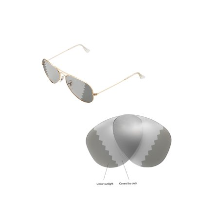 163dcc2ab69a1 Walleva - Walleva Transition Photochromic Polarized Replacement Lenses for  Ray-Ban Aviator Large Metal RB3025 58mm Sunglasses - Walmart.com