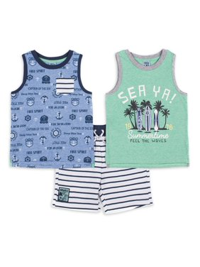 Little Lad Baby & Toddler Boy Tank Tops & Shorts, 3pc Outfit Set