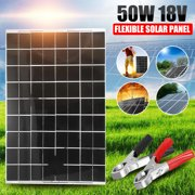 50W Solar Panel Monocrystalline with Battery Clip, Car Boat Motor Battery Charger Home Portable Solar Panel Generator Power 18V