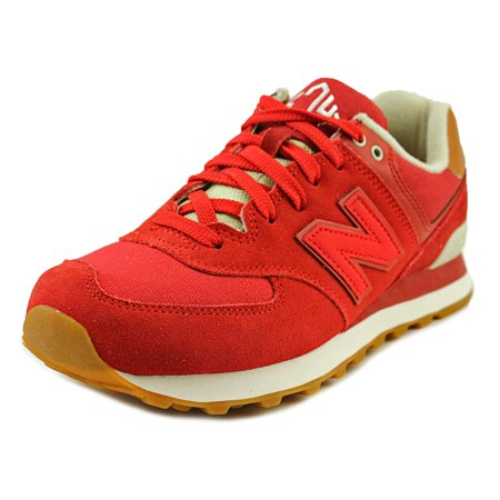 sale retailer 5a7c6 74dd4 New Balance ML574 Men Round Toe Canvas Red Sneakers