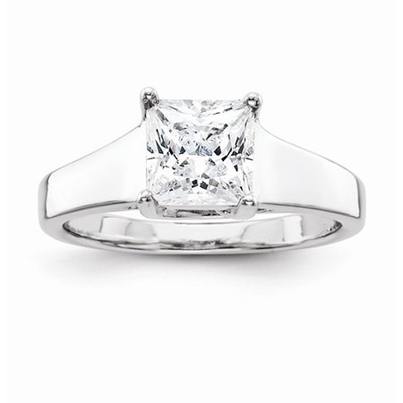 1.25 Ct Certified Diamond - Certified 1.25 Ct. Princess Cut Diamond Engagement Ring (H/SI1) in 14k White Gold