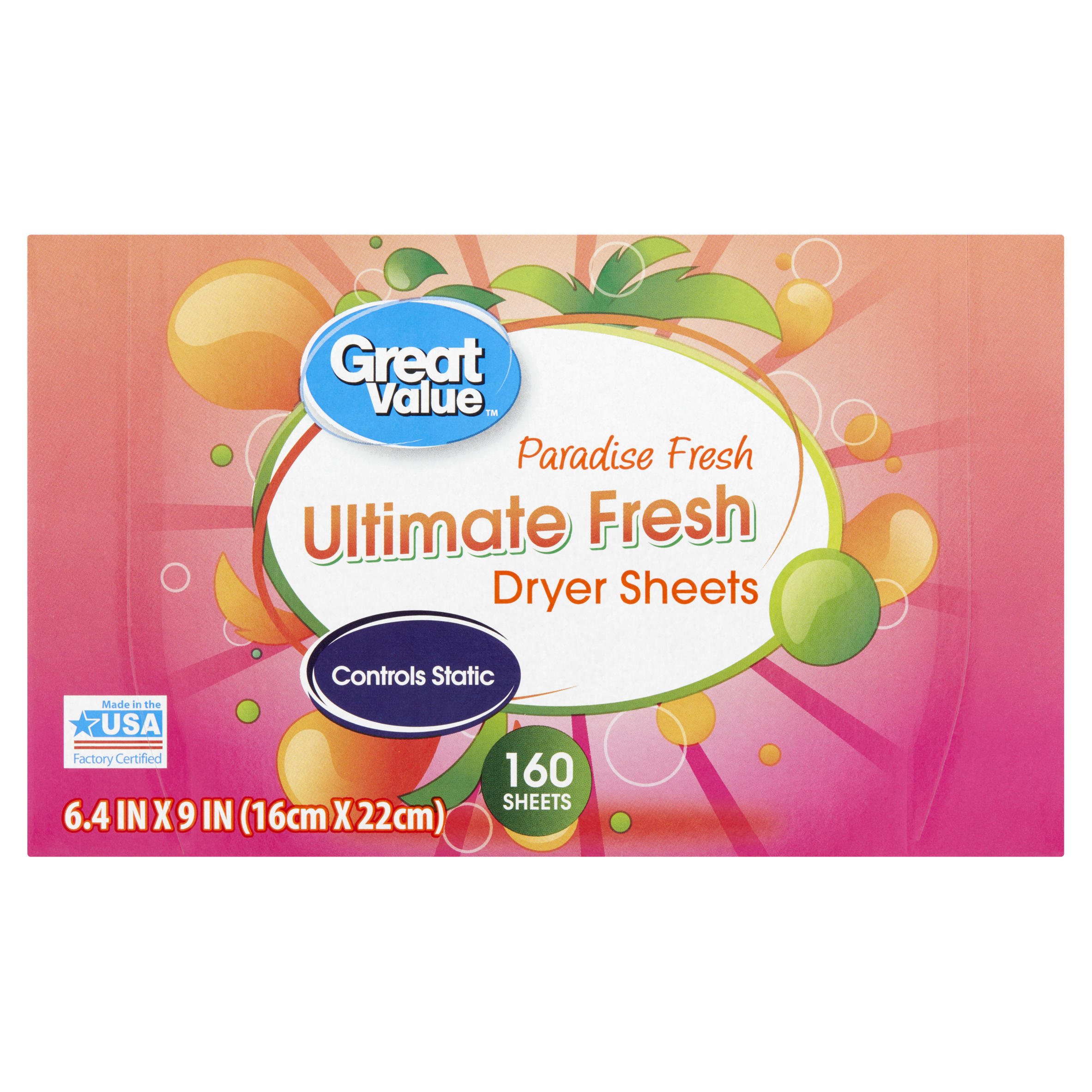 Great Value Ultimate Clean Dryer Sheets, Paradise Fresh, 160 Count