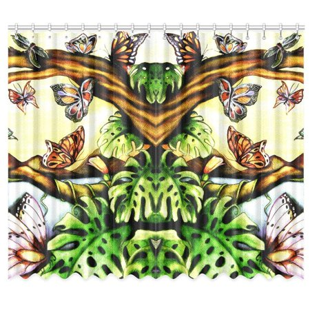RYLABLUE Butterfly Window Curtain Window Treatments Kitchen Curtains 26x39 inches, 2 Pieces - image 1 de 3