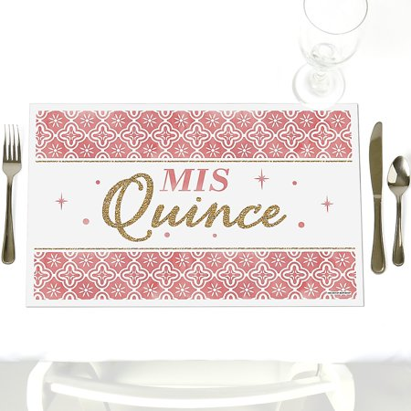 Mis Quince Anos - Party Table Decorations - Quinceanera Sweet 15 Birthday Party Placemats - Set of 12 - Sweet 15 Table Decorations