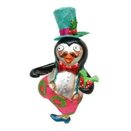 December Diamonds Mr. Penguin in Top Hat Christmas Holiday Ornament Glass - Christmas Penguin