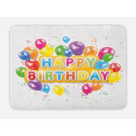 - Birthday Bath Mat, The Words Happy Birthday with Vivid Balloons Confetti Rain Blithesome Happy Day, Non-Slip Plush Mat Bathroom Kitchen Laundry Room Decor, 29.5 X 17.5 Inches, Multicolor, Ambesonne