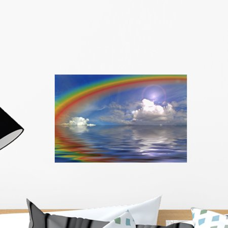 Clouds Sky and Rainbow Wall Mural Decal by Wallmonkeys Vinyl Peel and Stick Graphic (18 in W x 12 in H)