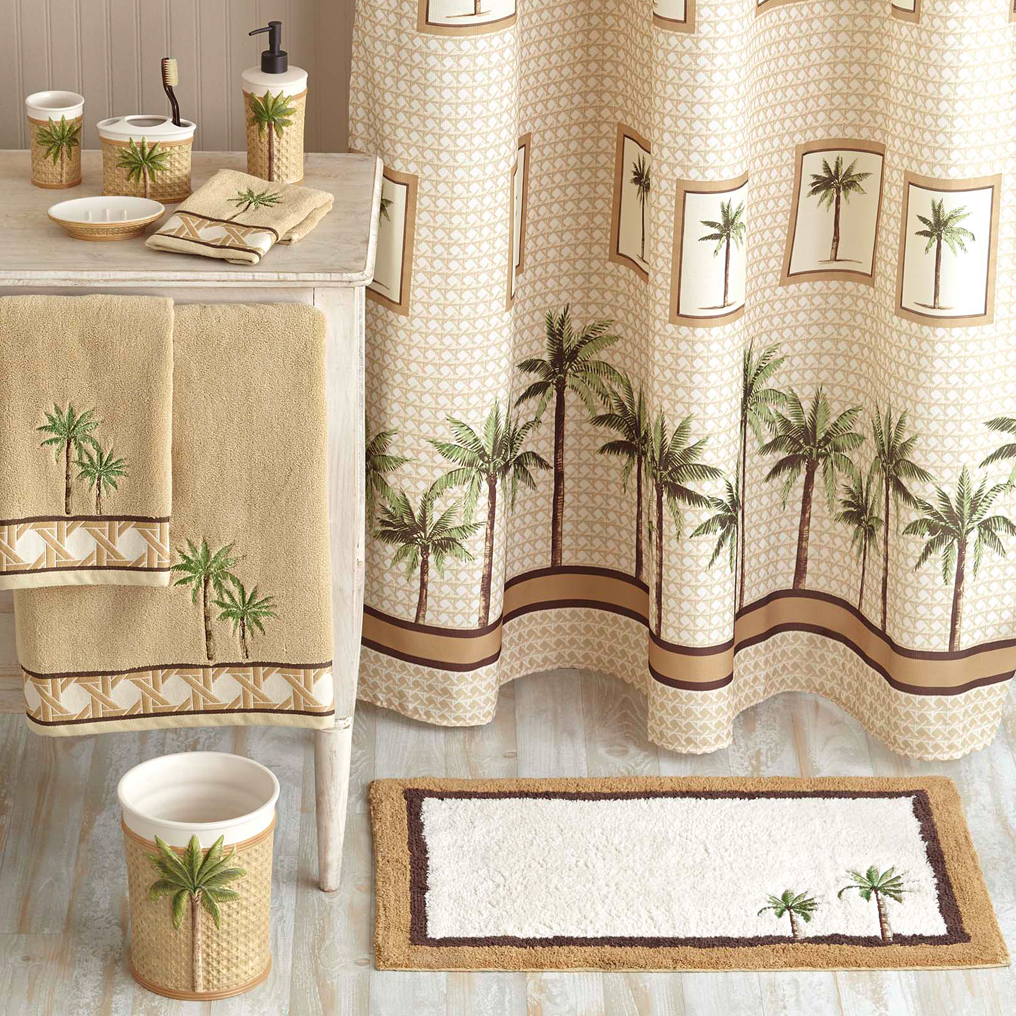 Bathroom sets walmart - Better Homes And Gardens Palm Decorative Bath Collection Shower Curtain Walmart Com