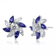 Collette Z  Sterling Silver Blue Cubic Zirconia Stud Earrings With Pinwheel Design