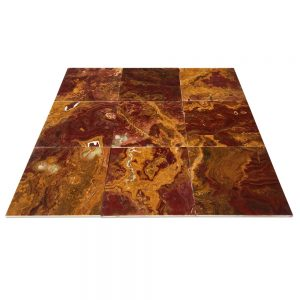 "Multi-Red Onyx Tile 12"" X 12"""