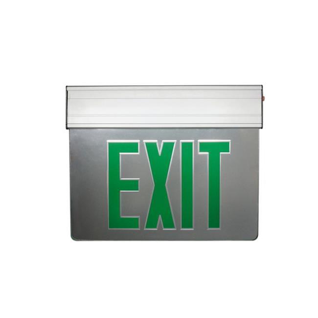 Nicor Lighting EXL2-10UNV-AL-MR-G-2 12.75 in. Edge Lit LED Emergency Exit Sign, Mirrored & Green - image 1 de 1