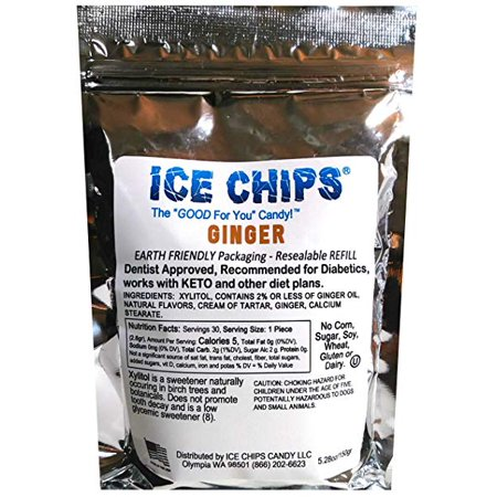 Low Carb Sugar Free Candy (ICE CHIPS Birchwood Xylitol Candy in Large 5.28 oz Resealable Pouch; Low Carb & Gluten Free (Ginger))